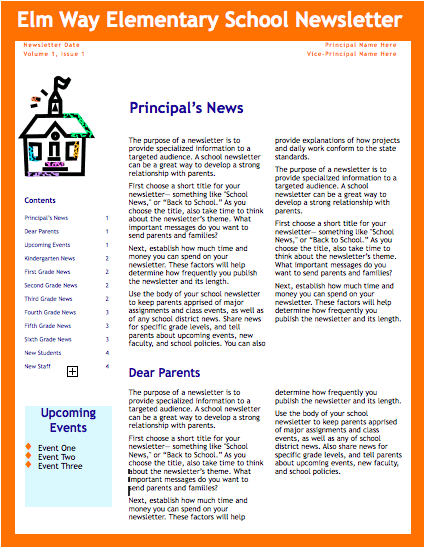 Orange School Newsletter Template for Pages