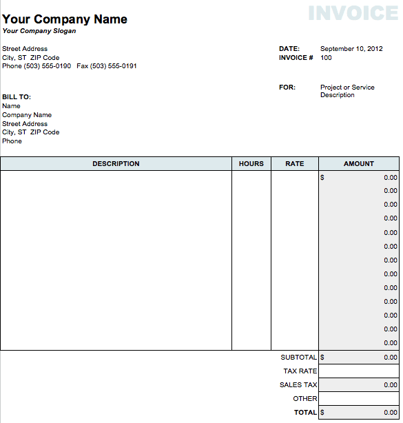 Classic Invoice Template for Numbers
