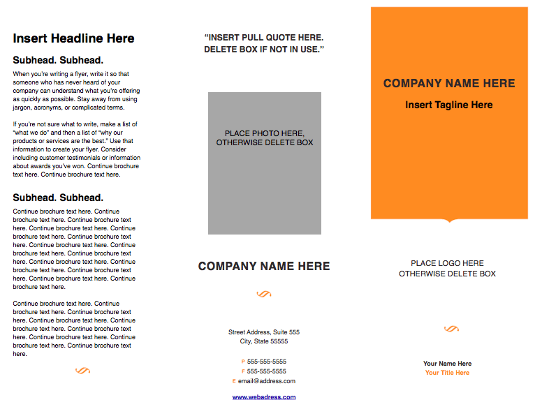 Modern Solid Tri Fold Brochure Template For Pages
