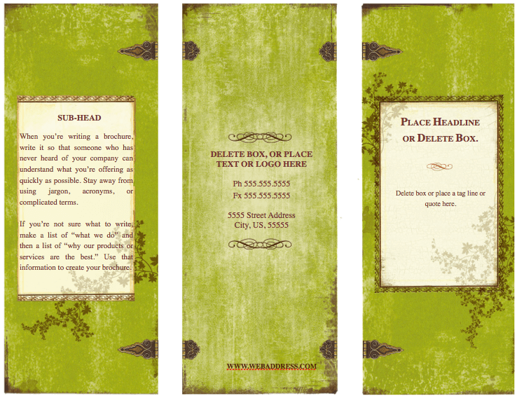 Weathered Tri Fold Brochure Template For Pages