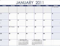 2011 Monthly Calendar Template for Numbers