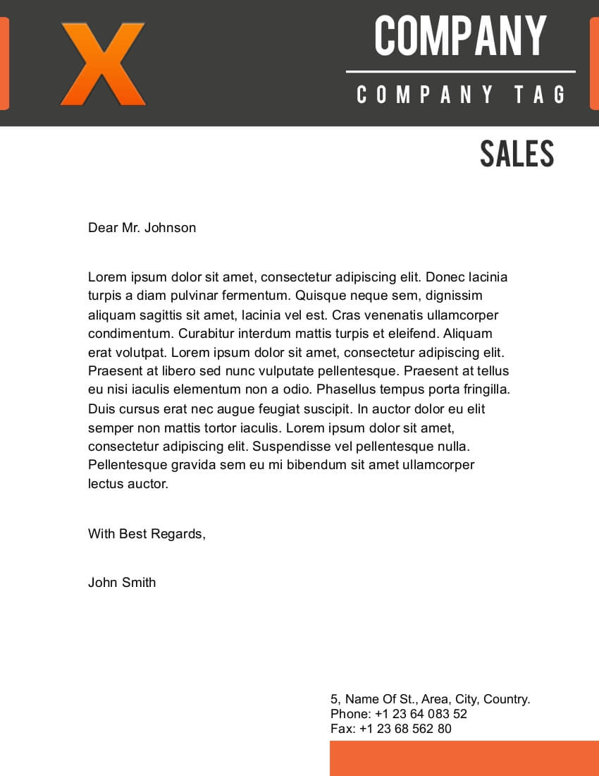 X Letterhead Template for Pages