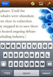 iWork for iPhone Typing