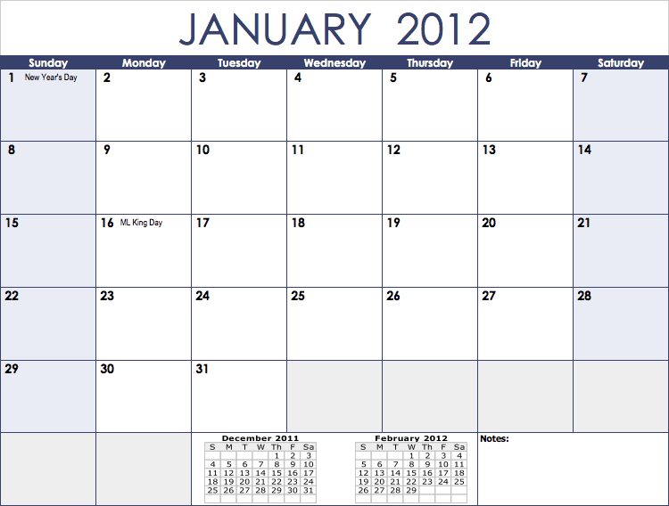 Numbers – 2012 Monthly Calendar Template