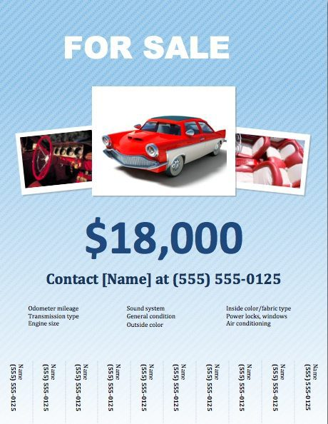 Car For Sale Flyer Template for Pages