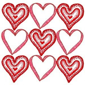 9 Hearts Valentines Day Card Template