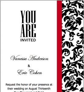 Black Red Wedding Invitations Template