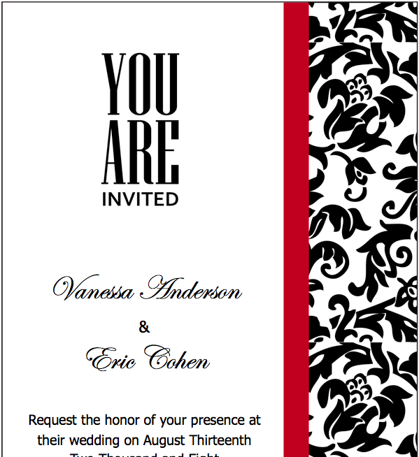 Pages Black Red Wedding Invitations Template