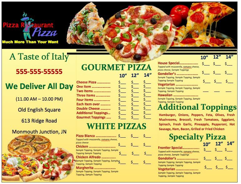 Pages Pizzeria Menu Template
