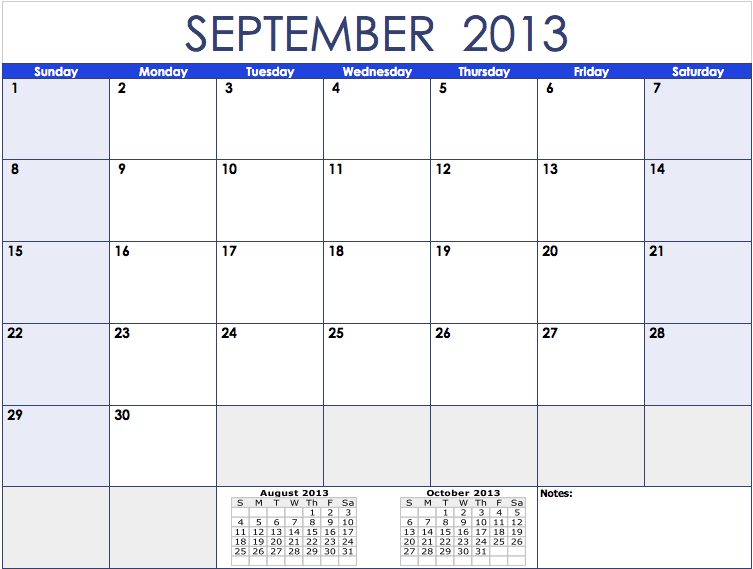 2013 Monthly Calendar Template For Numbers