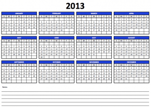 Numbers 2013 Yearly Calendar Template
