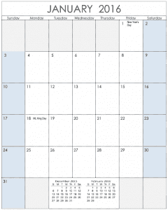 2016 Vertical Calendar Template for Numbers