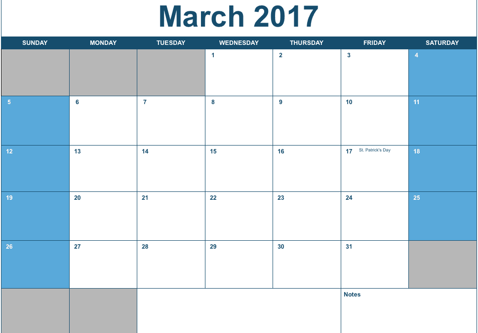 Numbers 2017 Horizontal Monthly Calendar Template