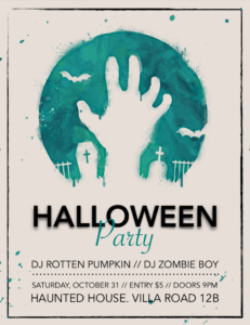 Pages Scary Zombie Halloween Flyer Template