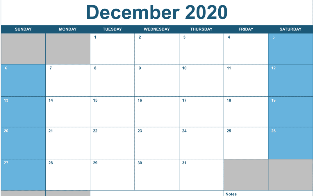 2020 Horizontal Monthly Calendar