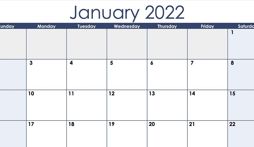 Numbers 2022 Horizontal Monthly Calendar Template