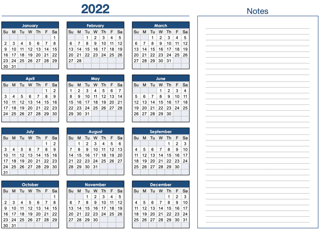 2022 Horizontal Yearly Calendar Template for Numbers