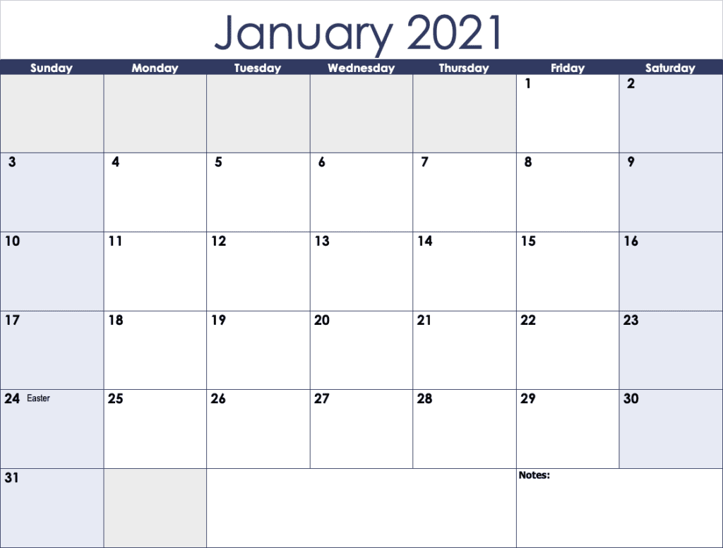 January 2021 image. Sheet one from the 2021 Horizontal Monthly Calendar Template for Numbers.