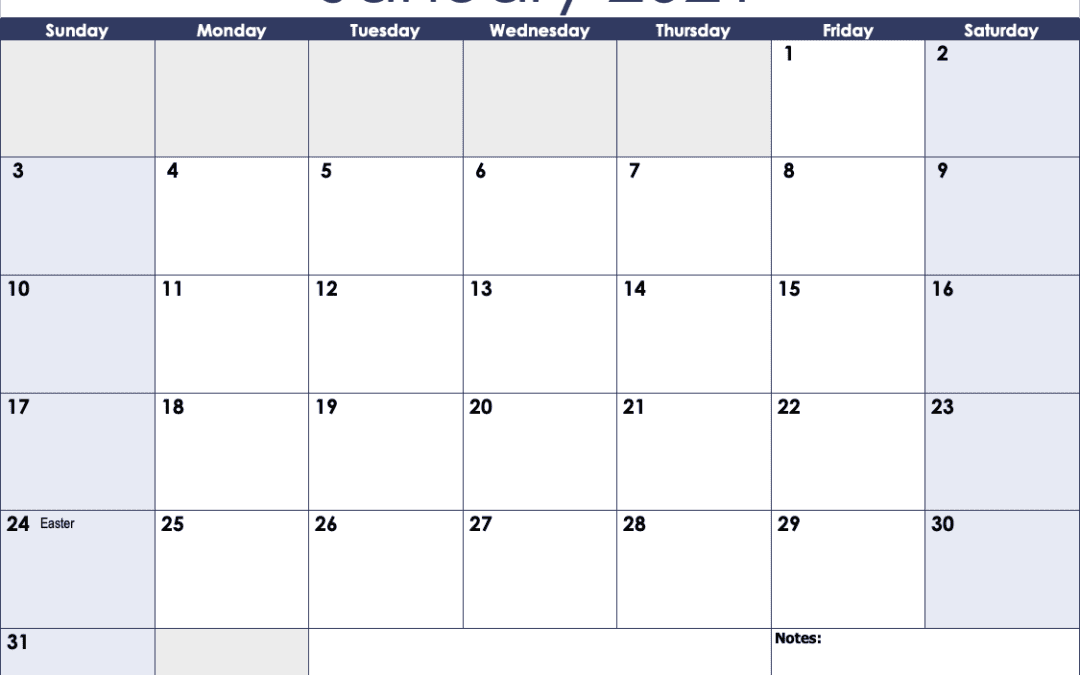 Numbers 2021 Monthly Calendar