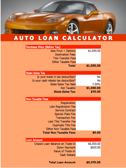Auto Loan Calculator Template for Numbers