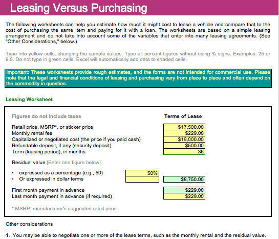 Car Purchase or Lease Template For Numbers