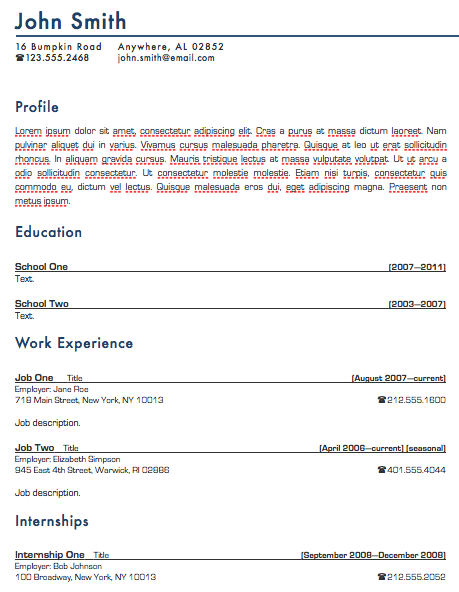 Standard Resume Template For Pages