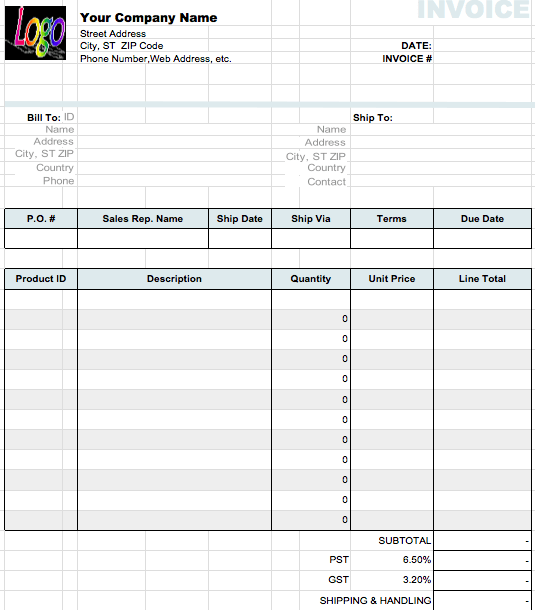 Basic Numbers Invoice Template