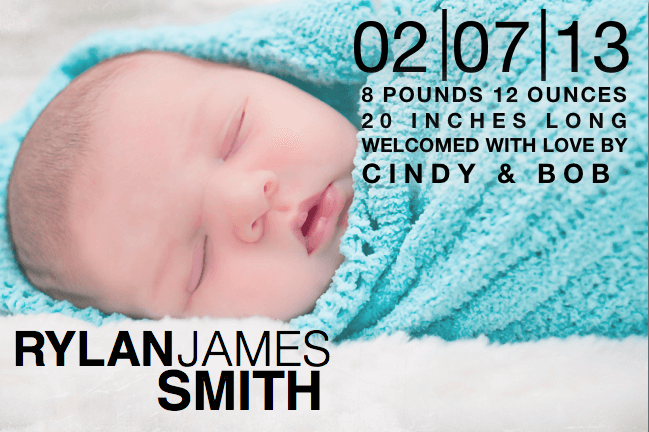 Birth Announcement Template with Block Text