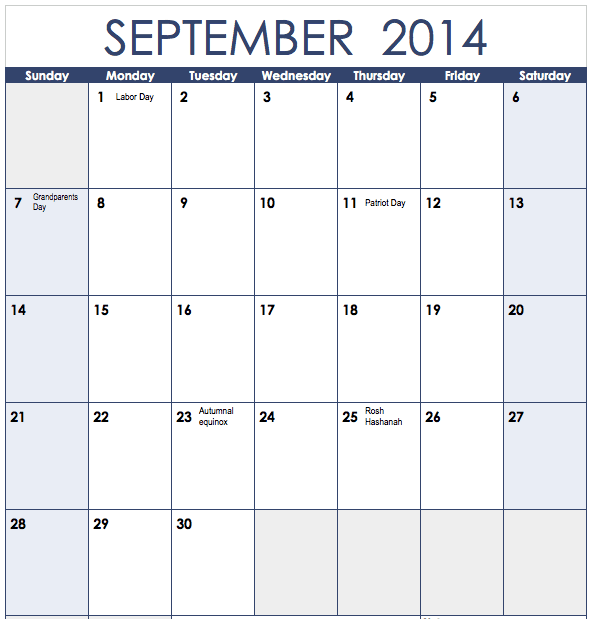 2014 Vertical Monthly Calendar Template for Numbers