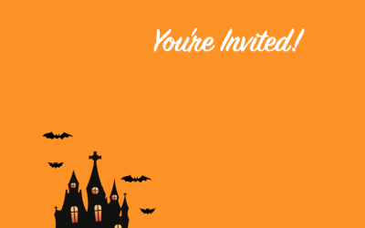 Halloween Haunted House Card Invitation for Pages