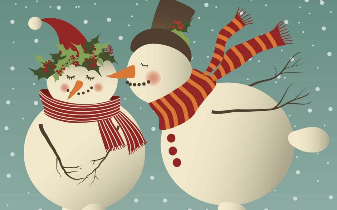 Kissing Snowman Pages Christmas Card Template