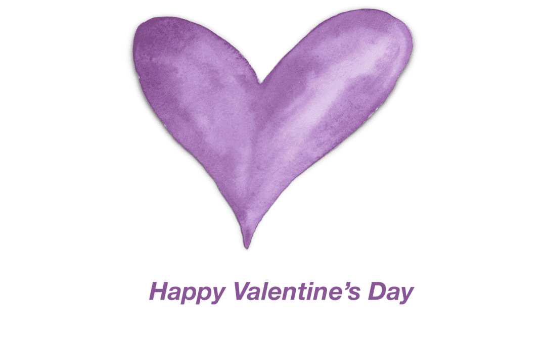 Purple Watercolor Heart Valentine's Day Card Template