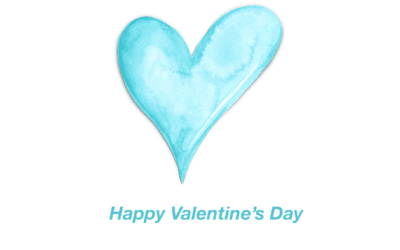 Blue Watercolor Heart Valentine's Day Card Template